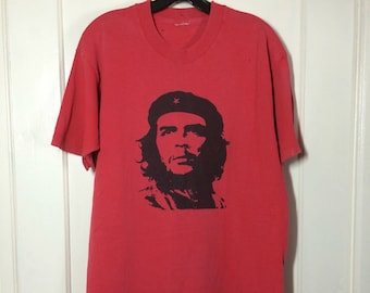 Vintage 1990's Che Guevara El Che faded red distressed grunge Revolution all cotton T-shirt looks size XL 21x29