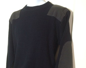 1980's Black Military Commando Wool Crew Neck Pullover Sweater looks size Medium to Large US Army Cold Weather cotton twill patches