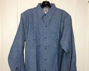 deadstock 1950s Sweet Orr blue Chambray Work Shirt size 15 Union Made in USA Sanforized
