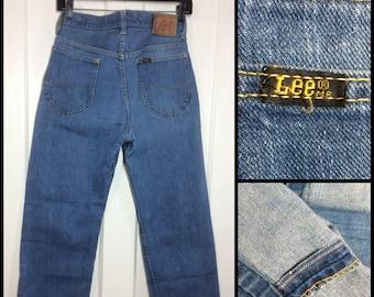 1960s Lee Riders 101-Z light wash blue selvedge denim boyfriend jeans measures 27x28, Talon zipper leather patch #309