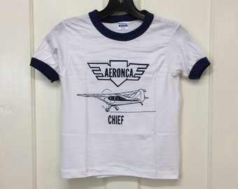 kids deadstock Aeronca Chief vintage airplane t-shirt girls boys youth size medium 14x18 pilot aircraft ringer tee Hanes made in USA NOS
