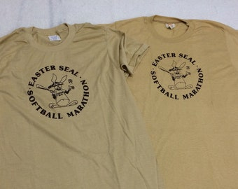 Pick one 1970s Easter Seals softball marathon t-shirt tag size XL looks medium 19x27 bunny rabbits tan brown print single stitch made in USA
