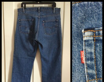 Vintage faded Levi's 505 36X30 Straight Leg denim 1980's made in USA 36 inch Waist black stitch Boyfriend blue jeans #1250
