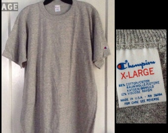 deadstock 1980's Champion brand plain blank Heather Gray 88/12 cotton rayon T-shirt size XL 22x33 NOS made in USA