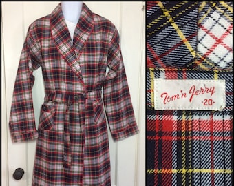 1950s plaid long belted robe smoking jacket youth size 20 small Tom and Jerry brand  red white blue yellow barely used excellent condition