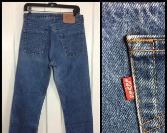 Vintage 1980's Levi's 505 Straight Leg Denim Blue Jeans 31X30 made in USA Boyfriend #305