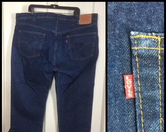 1980s Levi's 505 Straight Leg Blue Jeans 46X30, measured 46x31 made in USA 46 inch Waist dark wash barely used denim #269
