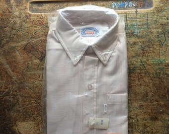 deadstock 1970s Levi's white tab tan rainbow pin striped button down collar shirt boys size 14 small new in bag nos nwt still pinned