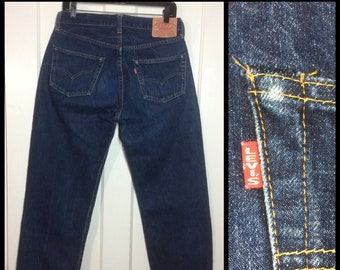 LVC 1990s does 1950s dark Indigo Blue denim 501XX Levi's Jeans 34x36 measures 30x32.5 Big E redline single stitch hidden rivets USA #264