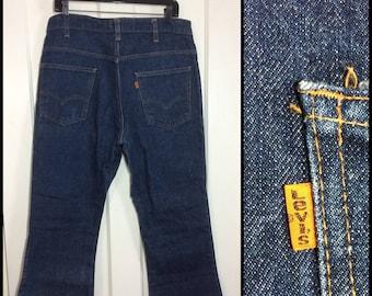 1970s Levi's 646 bellbottoms orange tab 35X28 dark 1 wash indigo blue denim, #4 button Talon zipper Bell Bottom Flare boyfriend Jeans #285