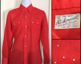 1970s semi-sheer Bright Red Cowboy Western snap Shirt looks size Small Custom Fitted by Rockmount diamond snaps