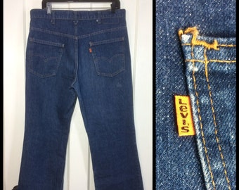 1980s Levi's Dark wash Blue 517 36X30 Boot Cut Denim Flare Jeans made in USA Orange Tab #267