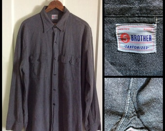 1950s 5 Brother Black Chambray salt and pepper Work Shirt looks size XL or XXL Union Made Selvedge Gussets