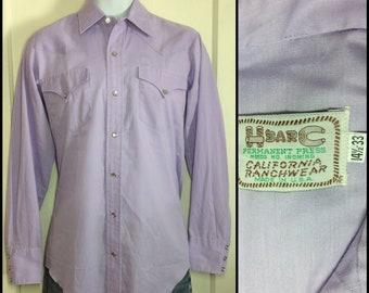1970s H Bar C Lavender Cowboy Western snap Shirt size Small HBarC California Rancher Rancher pastel purple