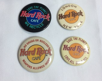 set of 4 Hard Rock Cafe pin pinback button badge 1.5 inch memorabilia collector London New York Save the planet