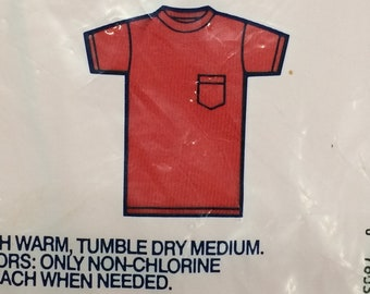 deadstock 1990s cotton Fruit of the Loom pocket tee red plain blank t-shirt size XL made in USA NIB nos