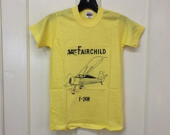 kids deadstock Fairchild F-24W vintage airplane t-shirt youth girls boys size medium 13x19 pilot aircraft yellow cotton tee made in USA NOS