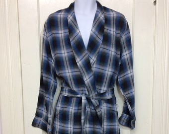 1950s plaid rayon smoking jacket long robe size large blue black green white shadow plaid Harcourt Quality robe rockabilly grunge