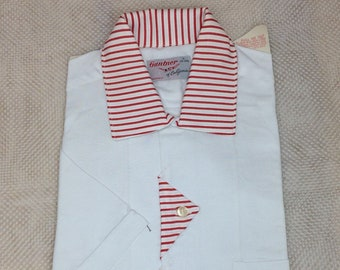 1950s deadstock short sleeve rayon loop collar shirt size small Gantner California striped collar triangle button design NOS NWT rockabilly