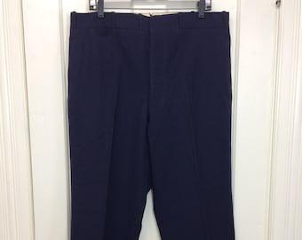 dark blue herringbone soft wool HBT tapered cuffed button fly slacks size 37x27 high waist wide leg baggy Humphrey Bogart swing