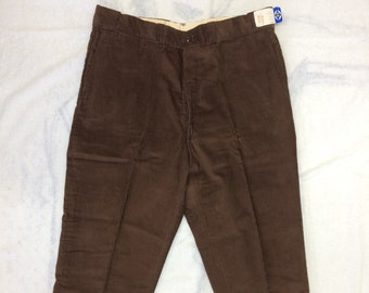 1950s 60s deadstock cotton corduroy work pants 40 x 28 Blue Rock Talon zipper cuffed tapered cuffed leg made in USA NOS NWT