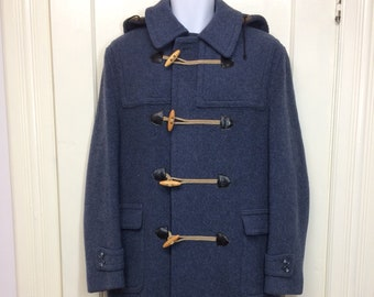 1960s grayish blue thick wool duffle coat looks size medium imported Lodenfrey rope and wood toggles removable hood