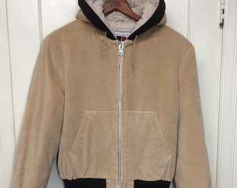 1970s William Barry velvet corduroy hooded jacket coat size 42 tan brown hoodie fleece lined bomber made in USA