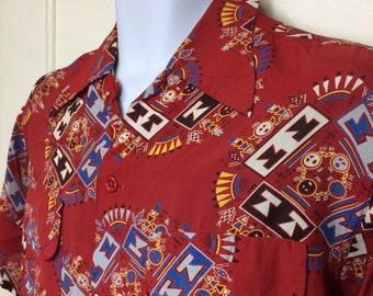 1940s silky rayon Hopi Indian Kachina Spirit patterned loop shirt size medium Native American novelty print rockabilly beach surfer as-is