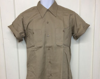 deadstock 1970s short sleeve khaki twill work shirt size medium Permanent Press NOS tan beige #3