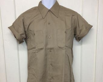 deadstock 1970s short sleeve khaki twill work shirt size medium Permanent Press NOS tan beige #3