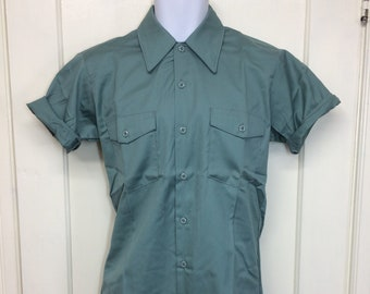 deadstock 1960s Montgomery Ward permanent press twill work shirt size small 14-14.5 short sleeve NOS green #6