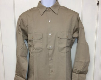 deadstock 1960s Sears Roebuck Perma-Prest cotton nylon twill work shirt size 15 long made in USA NOS khaki tan beige #4