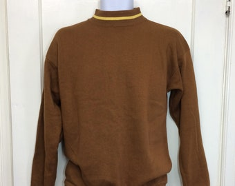 deadstock 1960s brown yellow striped mock turtle sweatshirt looks size medium soft NOS mod grunge