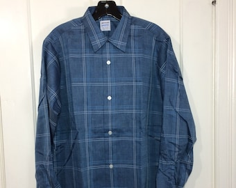 deadstock blue plaid loop shirt size medium blue white Van Heusen textured cotton rockabilly NOS