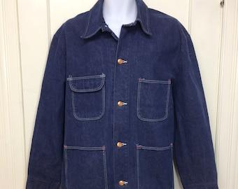 1970s Wrangler Blue Bell indigo blue cotton denim chore jacket size 46 XL dark wash