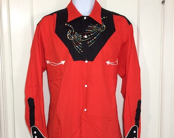 deadstock 1940s orange red black western shirt by Cowboy Joe rainbow embroidered yoke size large sanforized with white buttons piping NOS