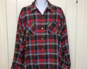 vintage plaid brushed rayon loop shirt size XL WT. Grant Co. Granella red black yellow gray rockabilly grunge