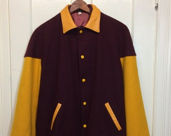 1960s varsity letter jacket size 42 letterman college Ivy League school burgundy red yellow wool leather Butwin stadium