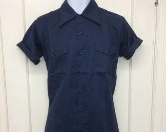 deadstock 1960s Montgomery Ward permanent press twill work shirt size small 14-14.5 short sleeve NOS dark blue #8