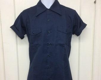 deadstock 1960s Montgomery Ward permanent press twill work shirt size small 14-14.5 short sleeve NOS dark blue #8