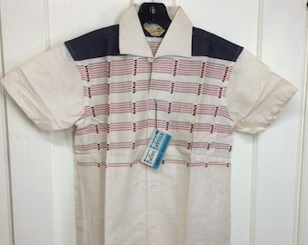 1950s deadstock short sleeve loop collar shirt size small Styled in California label horizontal Navajo stripes red gray NOS NWT rockabilly