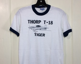 deadstock 1980s Thorp T-18 Tiger airplane t-shirt size small, looks XS 15.5x22.5 pilot aircraft thin white blue ringer Hanes made in USA NOS