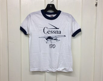deadstock 1980s Cessna 170 small airplane t-shirt size youth 14-16 16x20 aviator pilot aircraft thin white blue ringer Hanes made in USA NOS