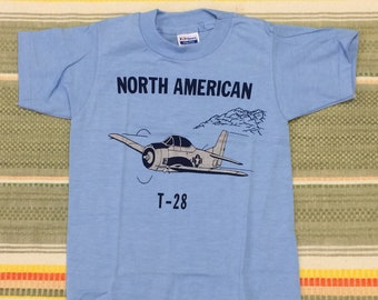 kids deadstock North American T-28 USAF airplane t-shirt youth girls boys size small 12x17 pilot aircraft baby blue Hanes made in USA NOS