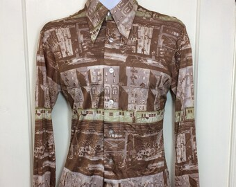 1970s NYC subway train graffiti art patterned disco shirt size medium by DeSantis Bronx Brooklyn urban city scene Chicago