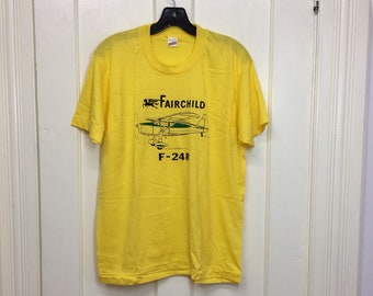 deadstock 1980s Fairchild F-24R vintage small airplane t-shirt size large 19x26 pilot aircraft thin yellow Screen Stars made in USA NOS