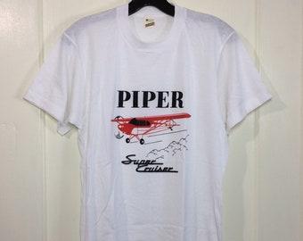deadstock 1980s Piper Super Cruiser airplane t-shirt size medium 18x25.5 pilot aircraft thin Screen Stars made in USA NOS single stitch