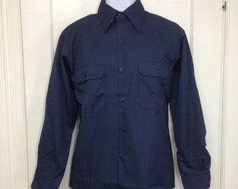 deadstock 1970s Sears Perma-Prest twill work shirt size medium NOS dark blue #1