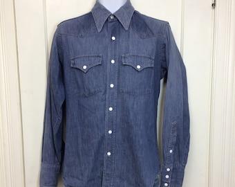 1960s Sears Roebucks faded blue denim jean western work shirt size medium white snaps