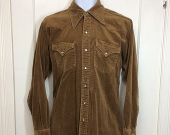 1970s Lee velvet western shirt size medium 15.5-34 brown pearly snap made in USA cowboy shirt